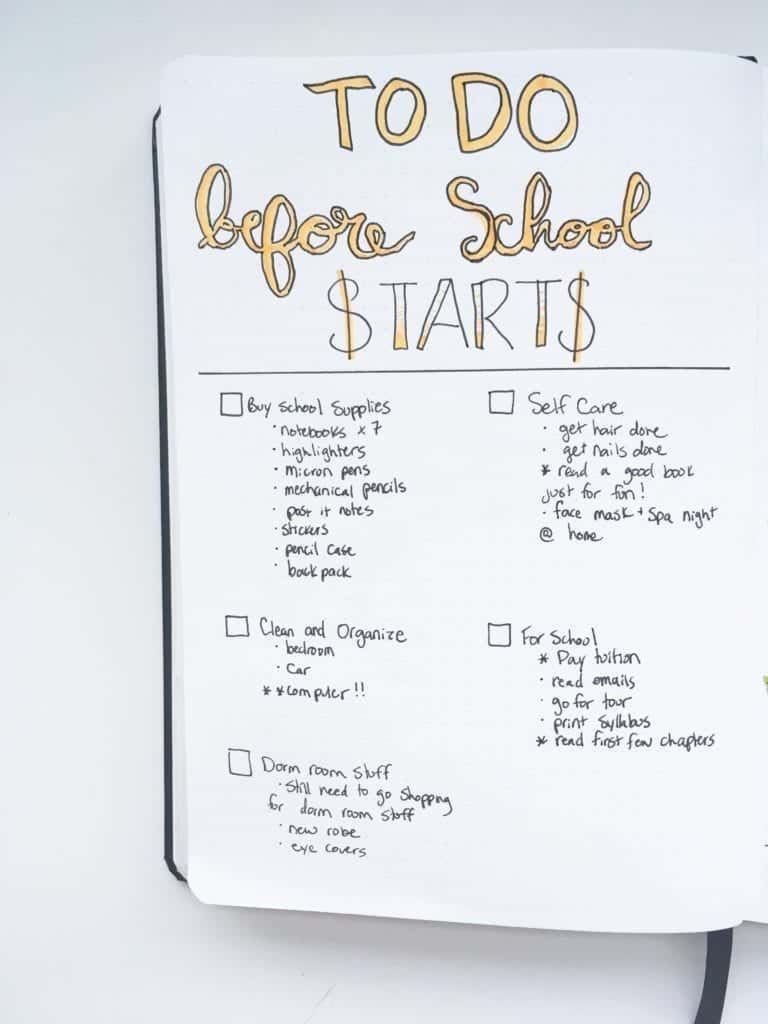 Bullet journal ideas for students: to do before school starts