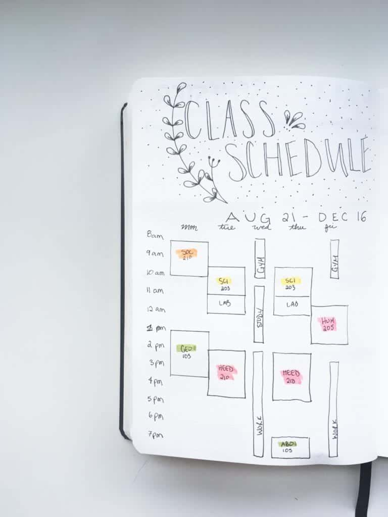 Bullet Journal layout ideas for students: class schedule