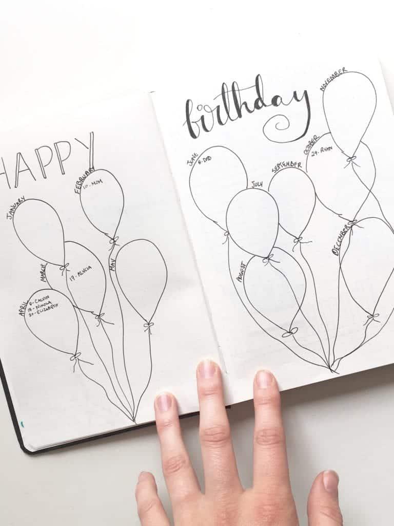 Happy Birthday Bullet Journal Spread