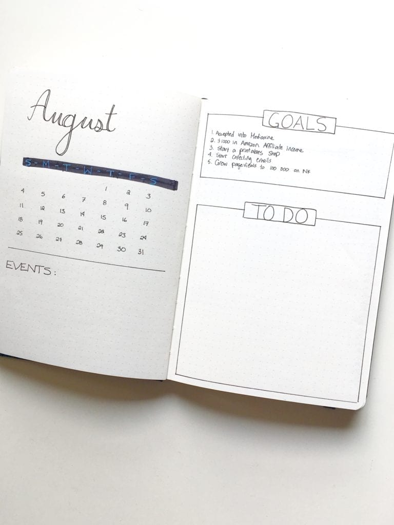 August Monthly Bullet Journal Spread