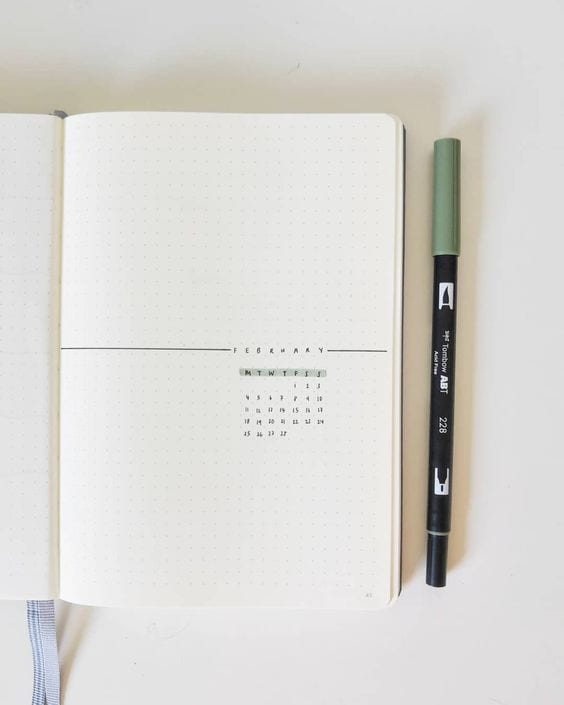 simple bullet journal monthly cover idea