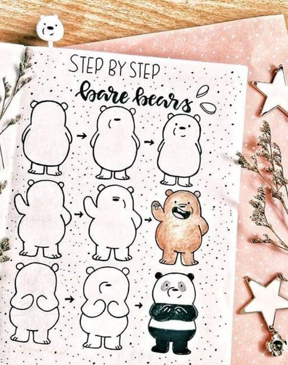 3 step easy doodle of bears