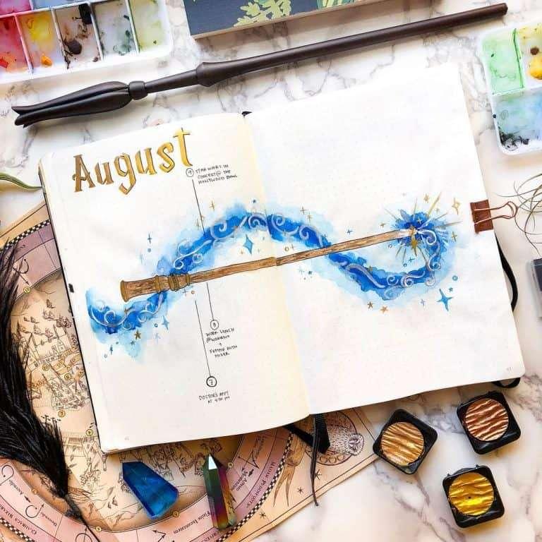 August Bullet Journal Harry Potter