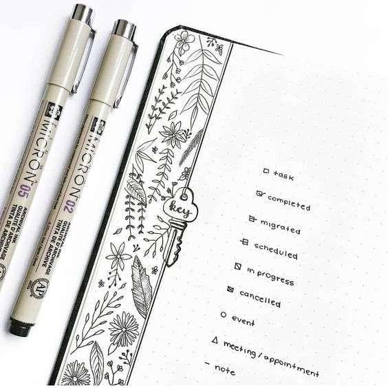 bullet journal key with border artwork