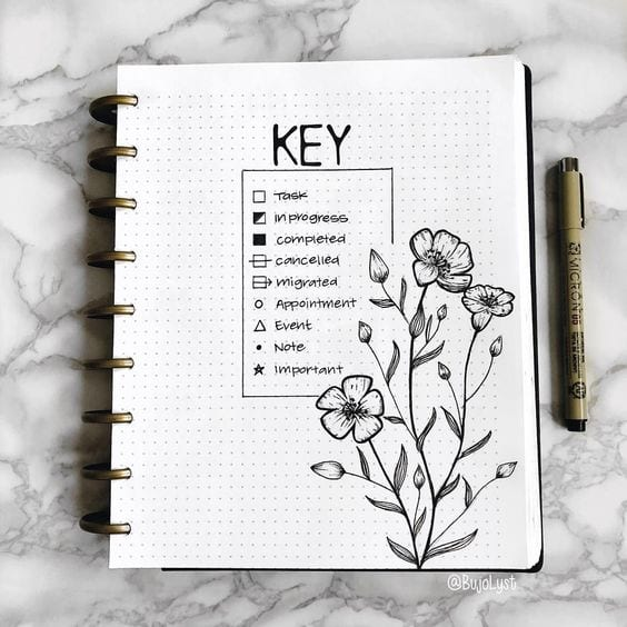 black and white bullet journal key with flowers