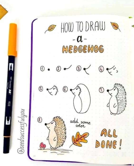 How to draw a hedgehog bullet journal doodle