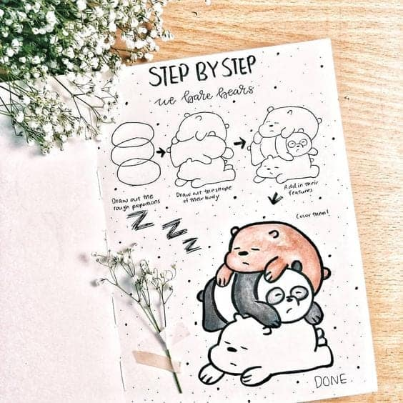 step by step how to draw bears bullet journal doodles