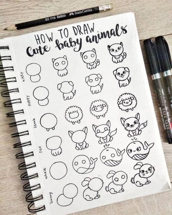 how to draw kawaii doodles cute baby animals