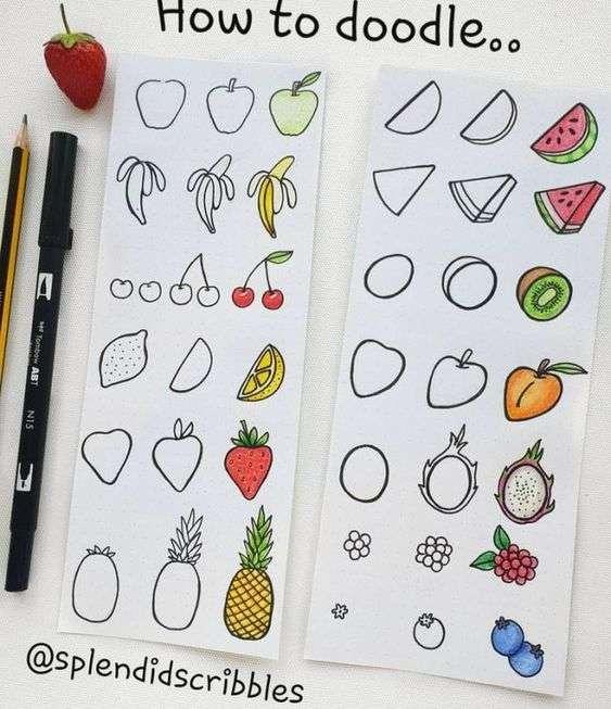 Bullet Journal doodles of different foods
