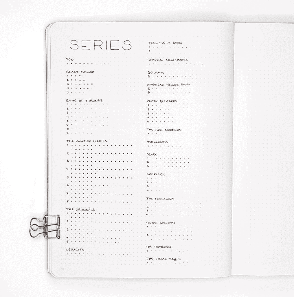 series tracker for minimalist bullet journal