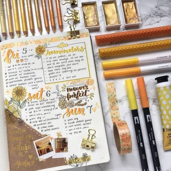 Orange Fall Weekly Bullet Journal Spread