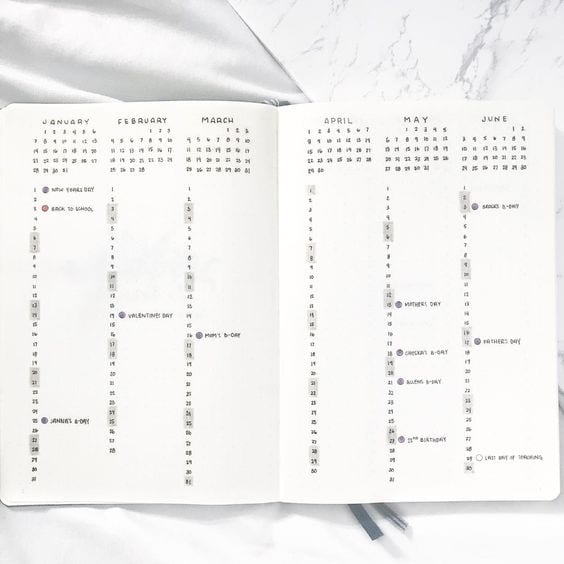 minimalist bullet journal future log spread
