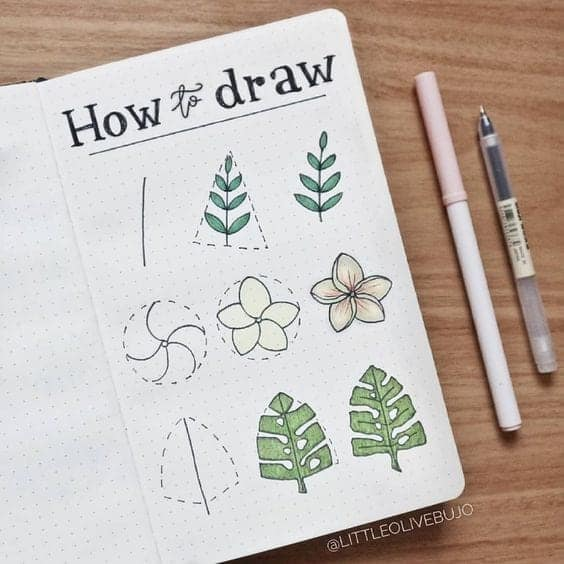 how to draw leaves bullet journal doodles