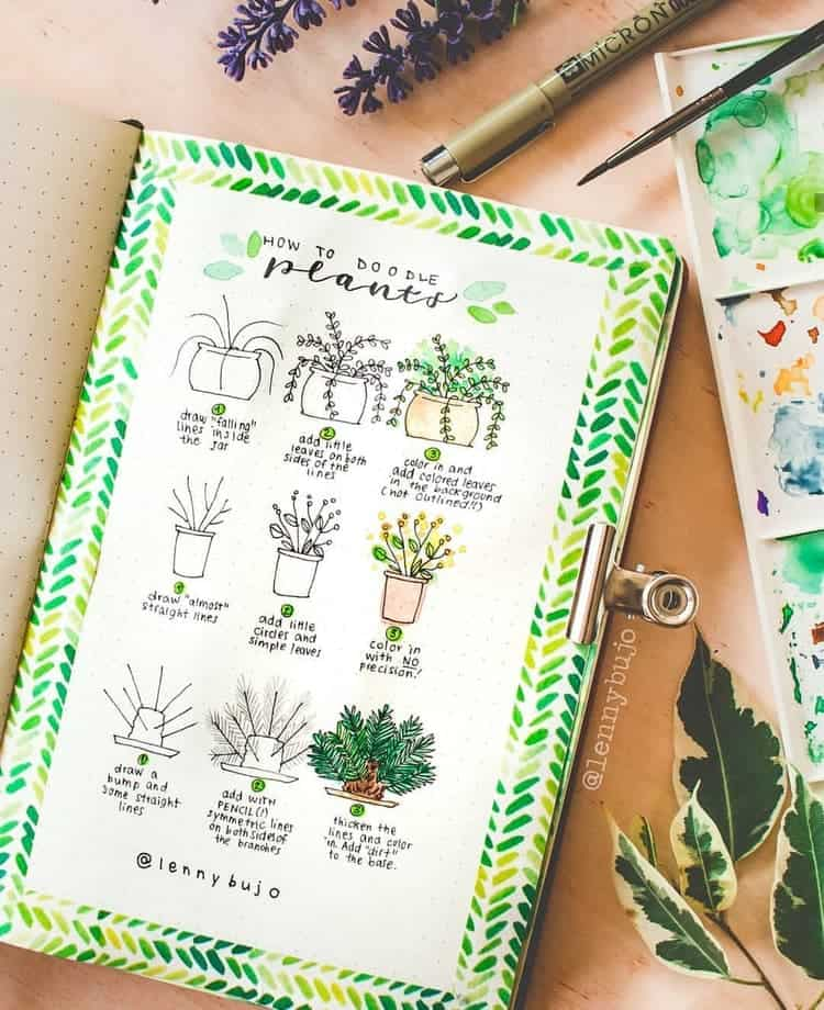 how to doodle plants in bullet journal