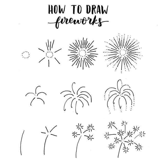how to doodle fireworks in bullet journal