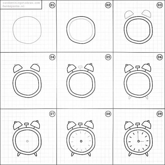 Step by step how to doodle an alarm clock