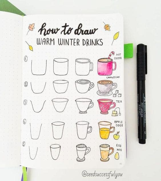 How to draw warm winter drinks in your bullet journal doodle page