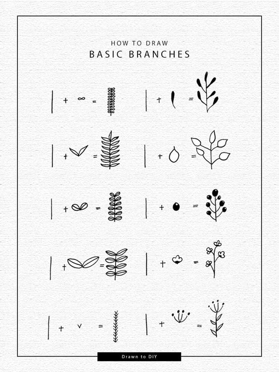 How to draw basic tree branches in your bullet journal