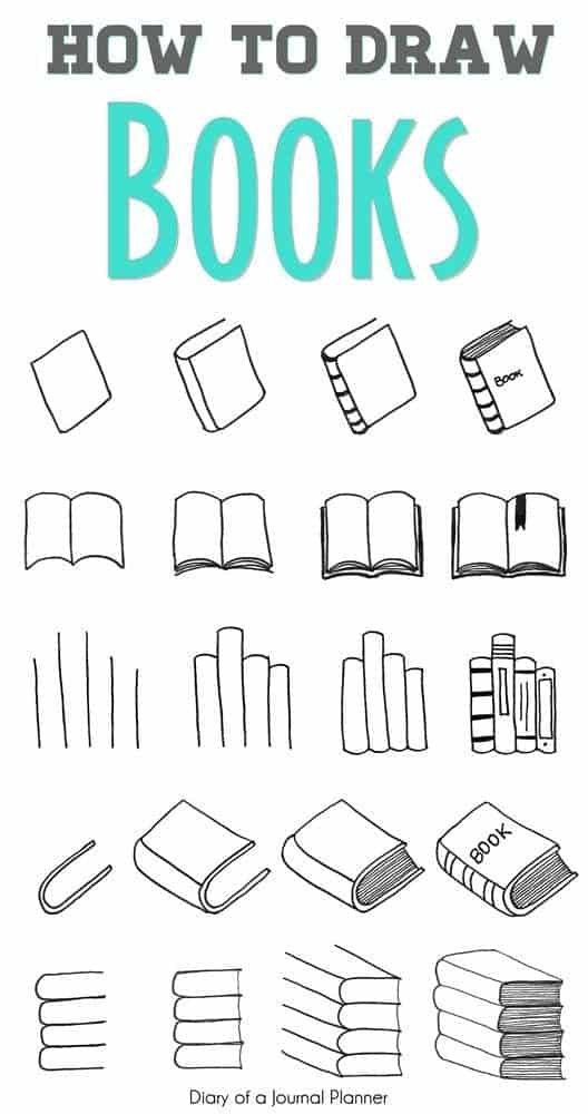 how to draw books in your bullet journal