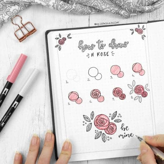 Bullet Journal Doodles how to draw a rose