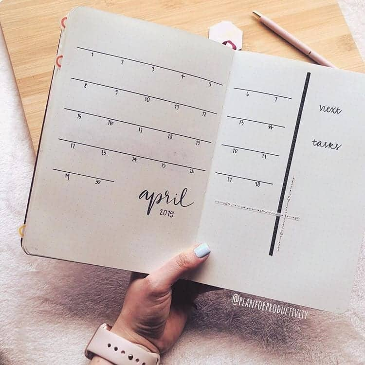 minimalist bullet journal monthly calendar