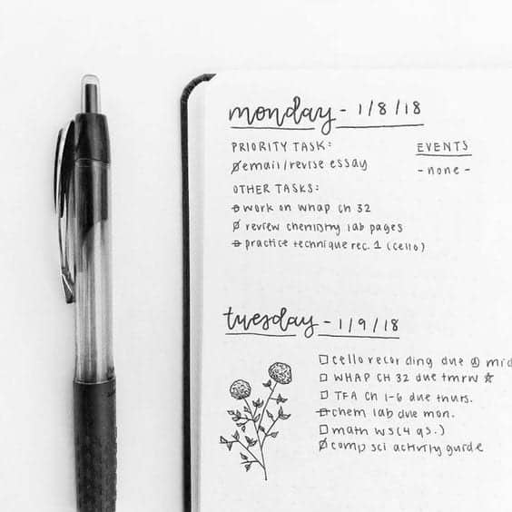 weekly minimalist bullet journal spread idea