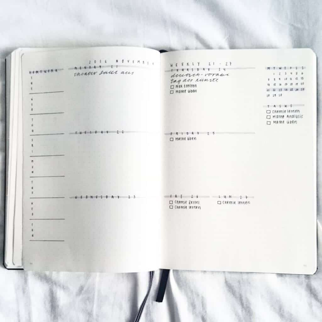 minimalist weekly spread idea