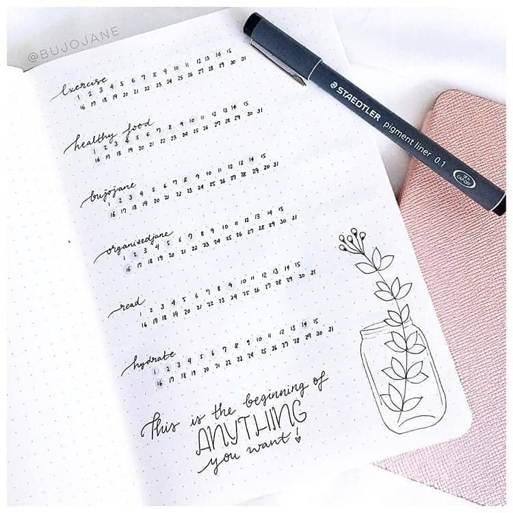 minimalist bullet journal tracker inspiration