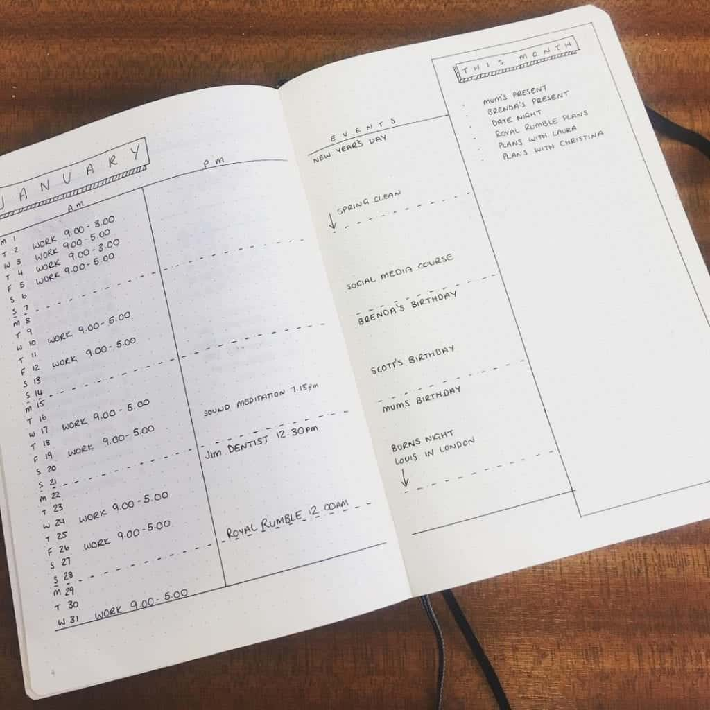 schedule layout for a minimalist bullet journal monthly