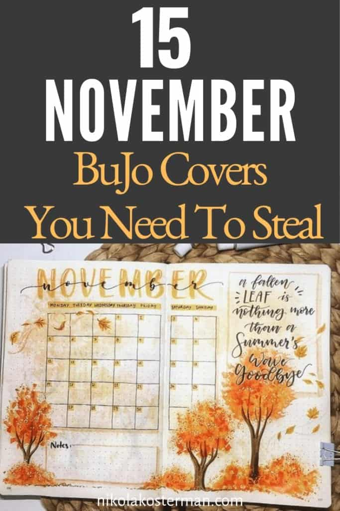 15 November Bujo Covers you Need to Steal