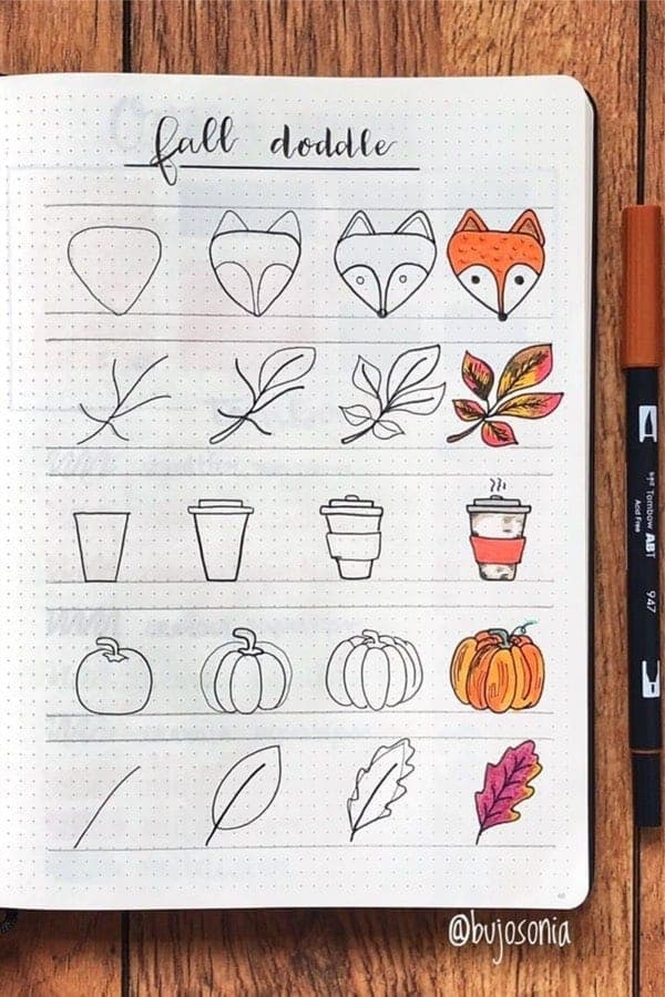 5 Colorful Step by Step Fall Doodles