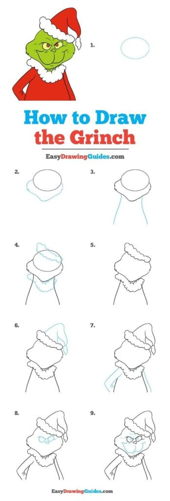 how to draw mr Grinch Doodle