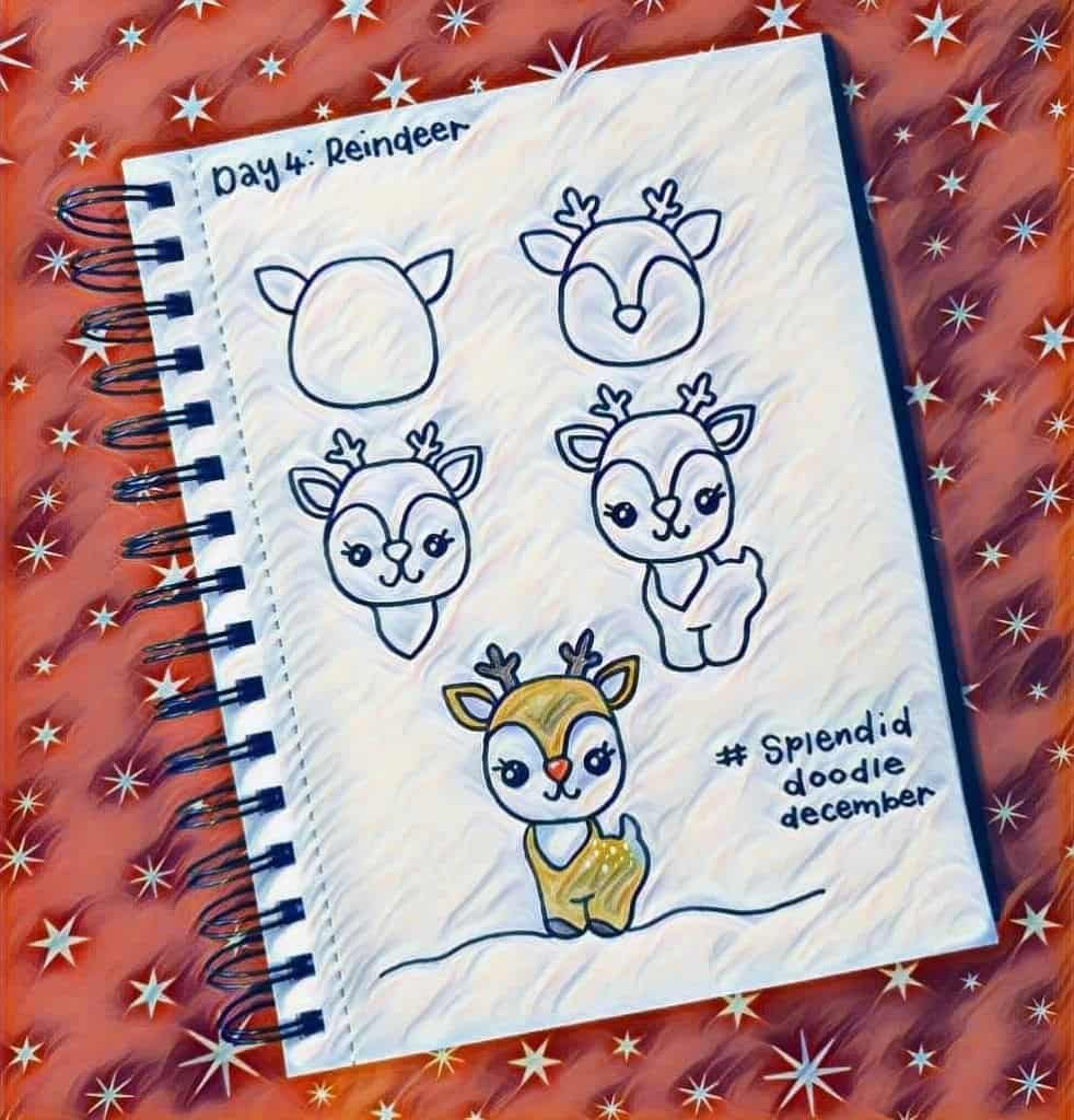how to draw a reindeer doodle