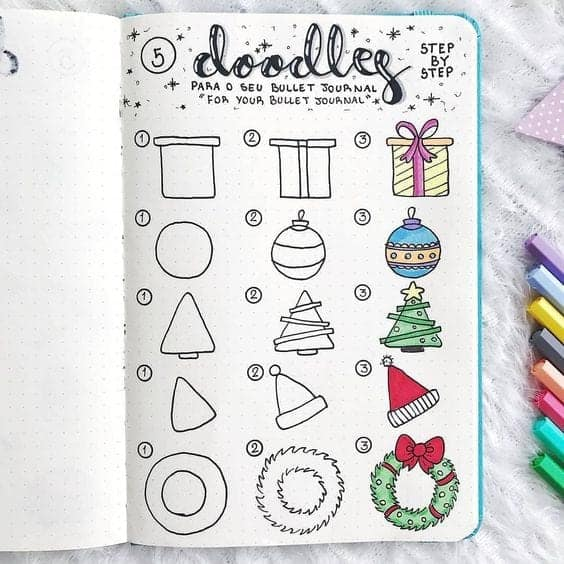 step by step Christmas Doodles Bullet Journal
