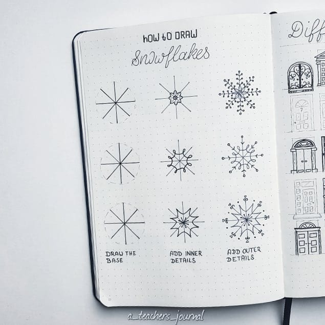 How to draw a simple Snowflake step by step