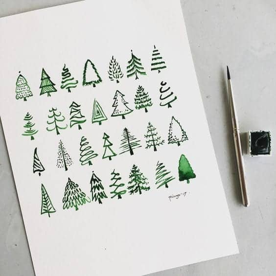 how to draw a Christmas tree easy Christmas bullet journal doodles