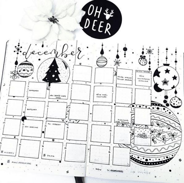 oh deer December Monthly Bullet Journal Spread
