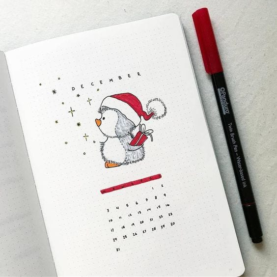 December Cover Page with Calendar