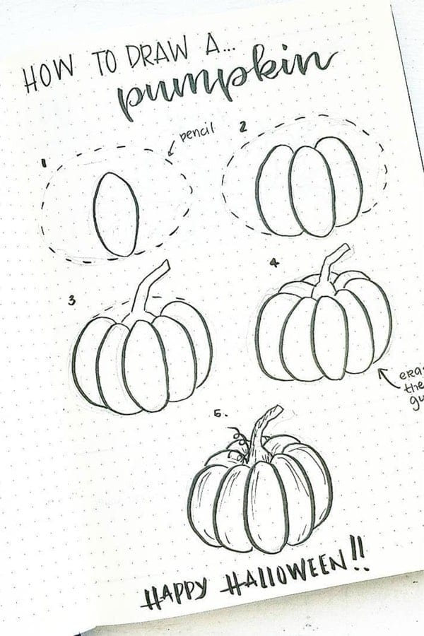 Easy 5 step how to draw a pumpkin