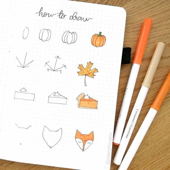 How to Draw Pumpkins, Leaves, Pie and Foxes!