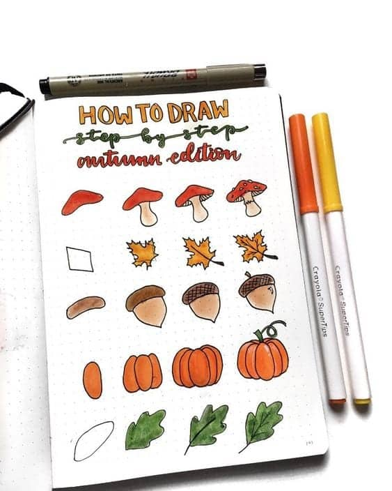 bullet journal doodles mushroom, leaves, acorns and pumpkins