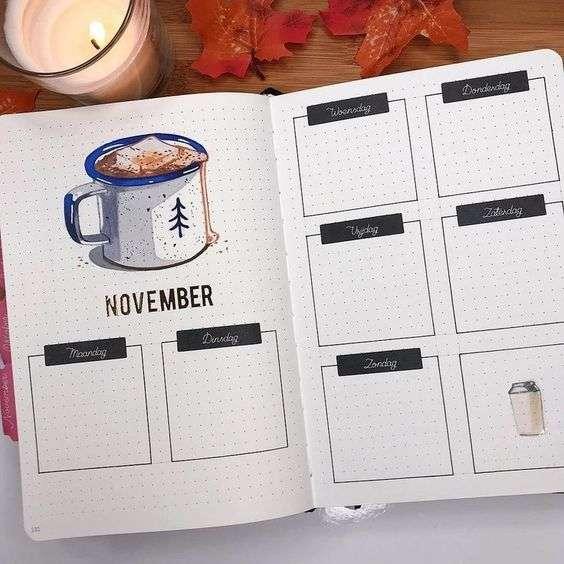 November Bullet Journal Weekly Spread