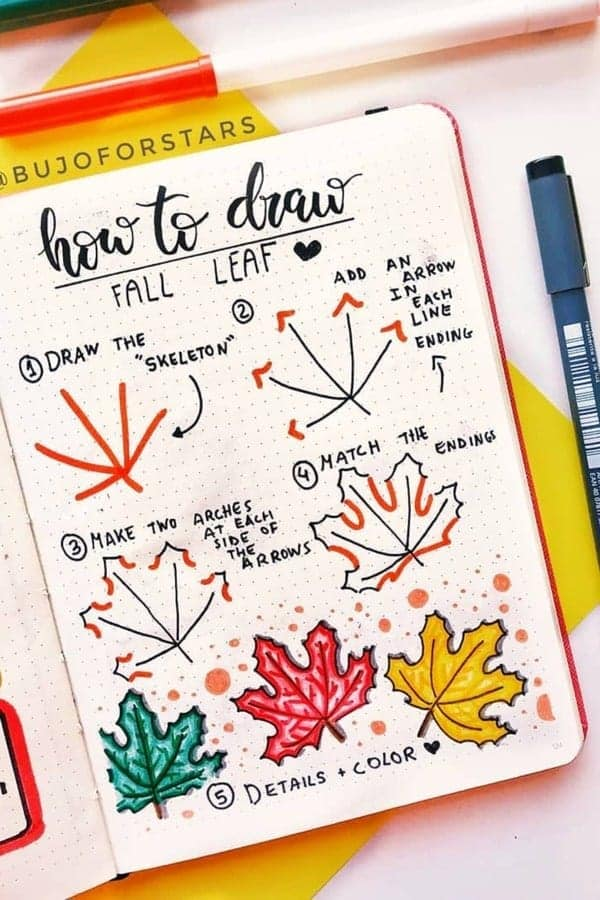 Very specific how to draw a fall leaf in a bullet journal