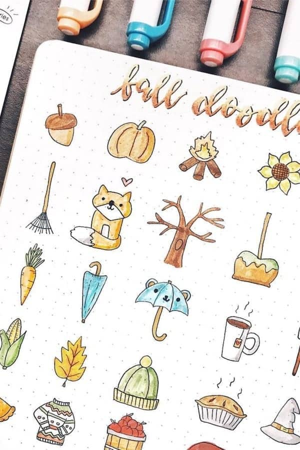 Lots of fall doodles on one page!