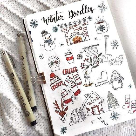 Christmas bullet journal doodles for winter