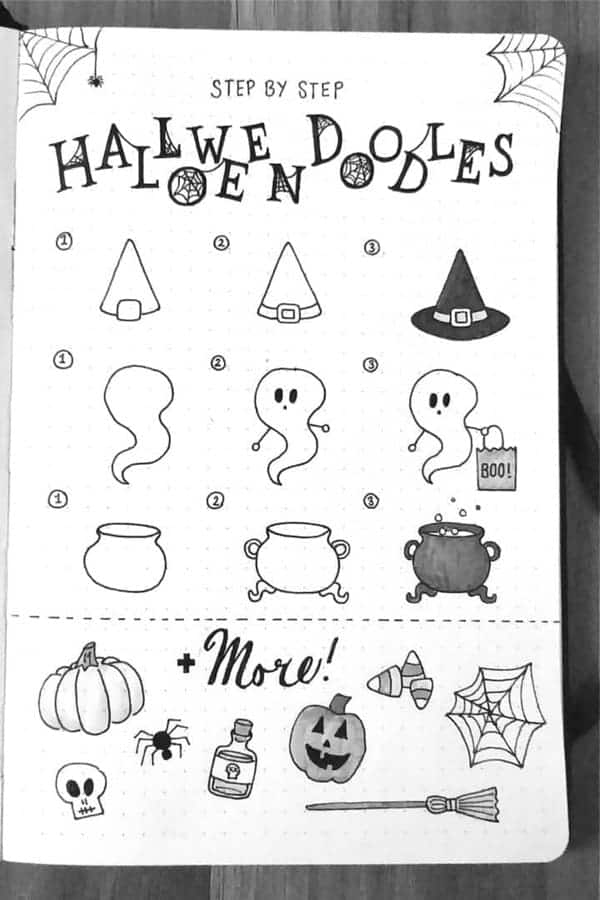 Step by step Halloween doodles including a witches hat, a ghost and more!