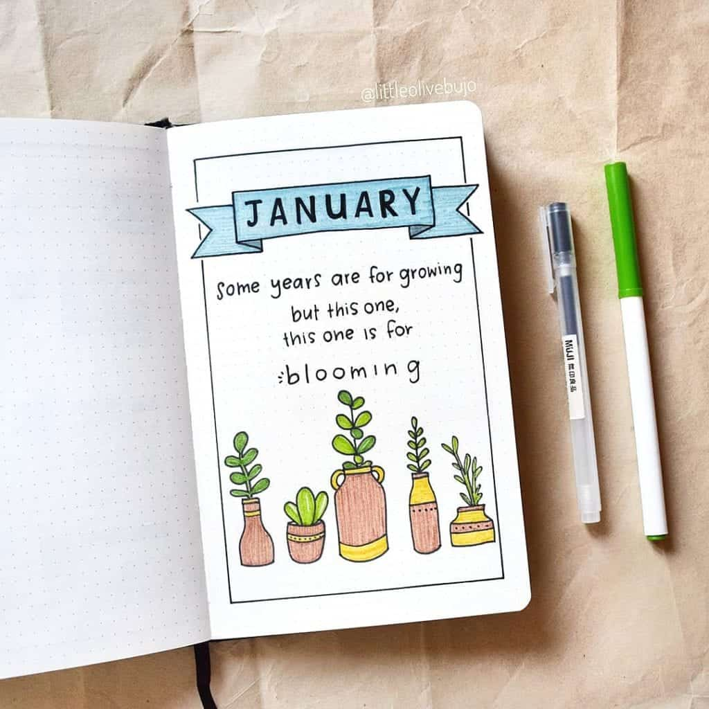 January Bullet Journal Idea cover page