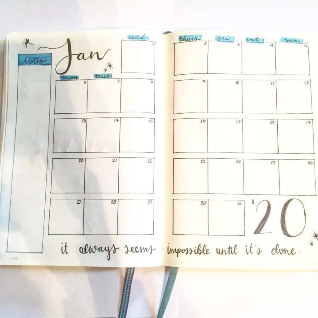 Simple January Monthly Spread!