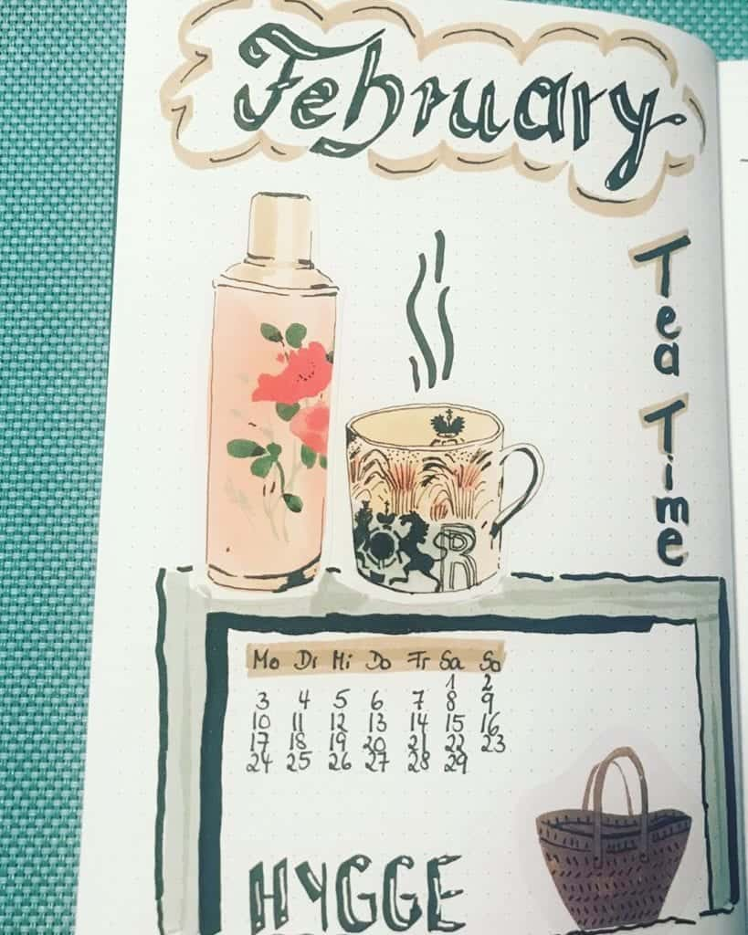 February Bullet Journal Cover Page