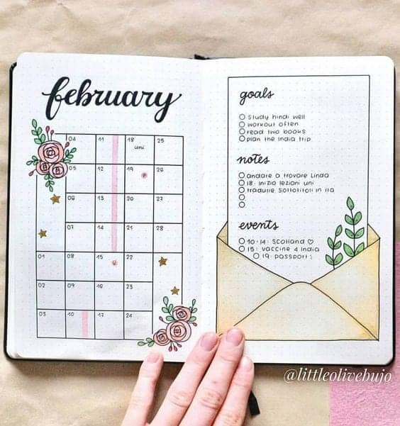 February Monthly Bullet Journal Spread